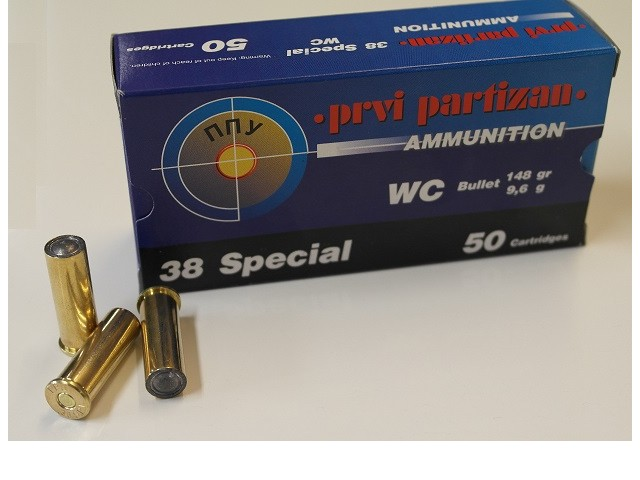 Naboj PPU .38 SPECIAL WC (wadcutter) - 9,6g